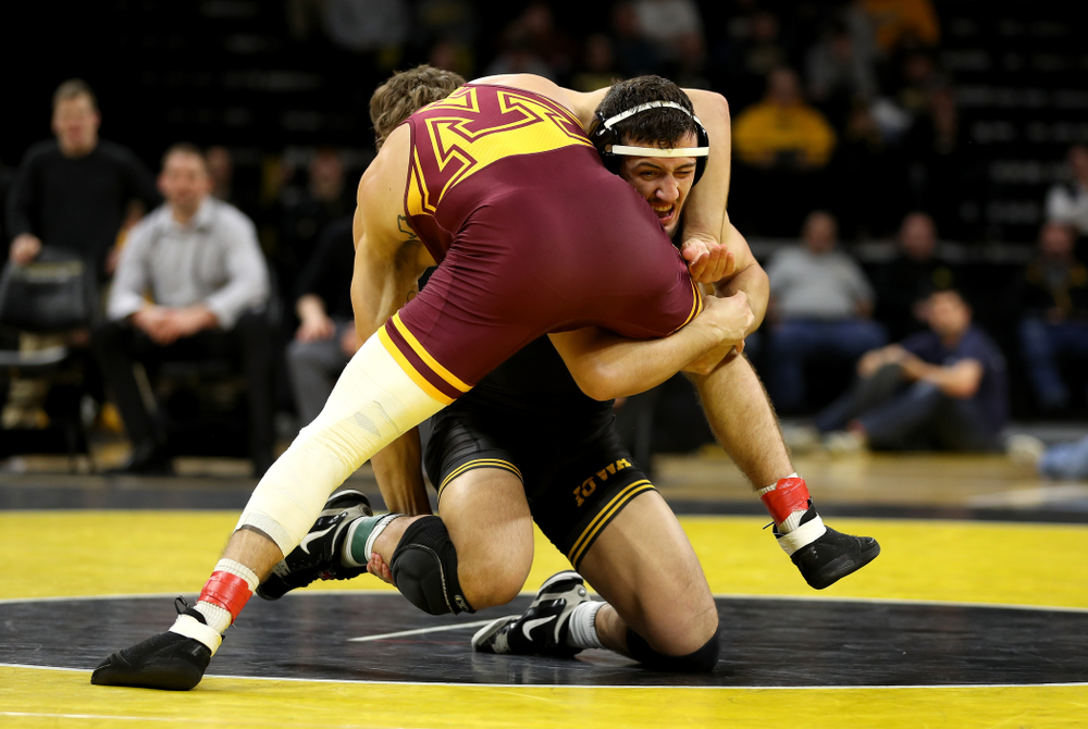 Iowa's Michael Kemerer wrestles Minnesota's Devin Skatzka at 174 pounds Saturday, February 15, 2020 at Carver-Hawkeye Arena. Kemererwon the match by fall. (Brian Ray/hawkeyesports.com)