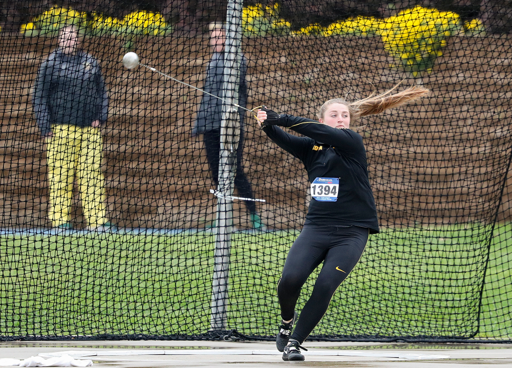 Iowa's Amanda Howe throws during the women's hammer event during the third day of the Drake Relays at Drake Stadium in Des Moines on Saturday, Apr. 27, 2019. (Stephen Mally/hawkeyesports.com)