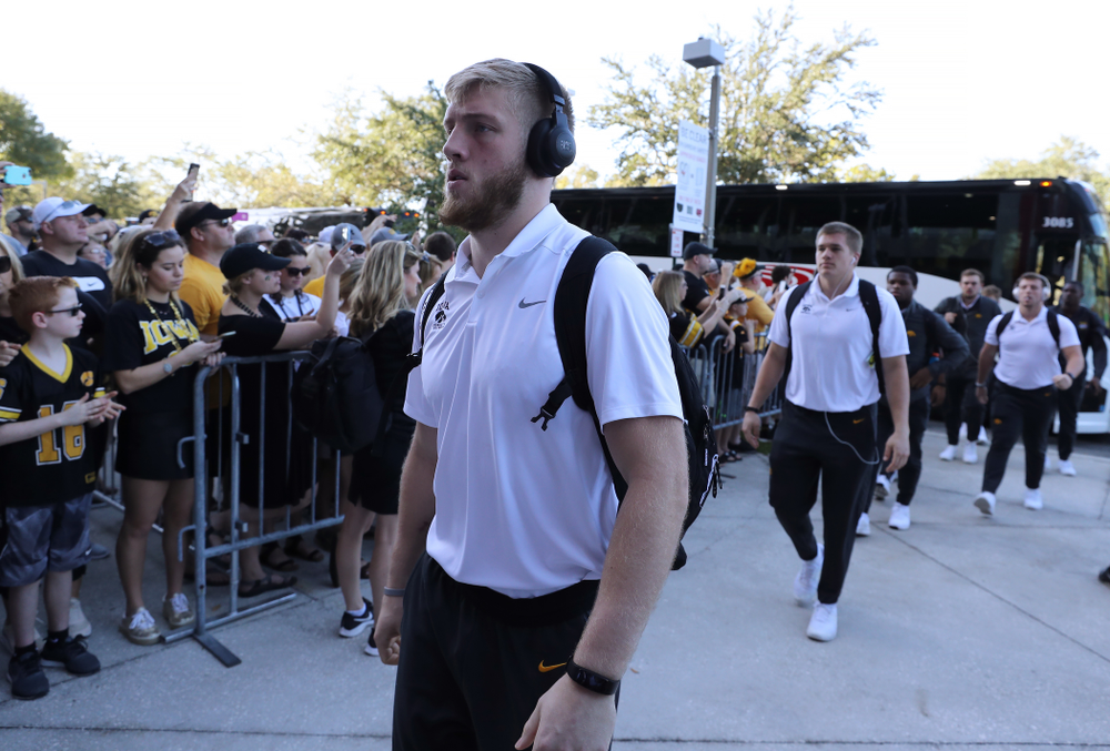 Iowa Hawkeyes defensive back Jake Gervase (30) arrives for the Outback Bowl Tuesday, January 1, 2019 at Raymond James Stadium in Tampa, FL. (Brian Ray/hawkeyesports.com)