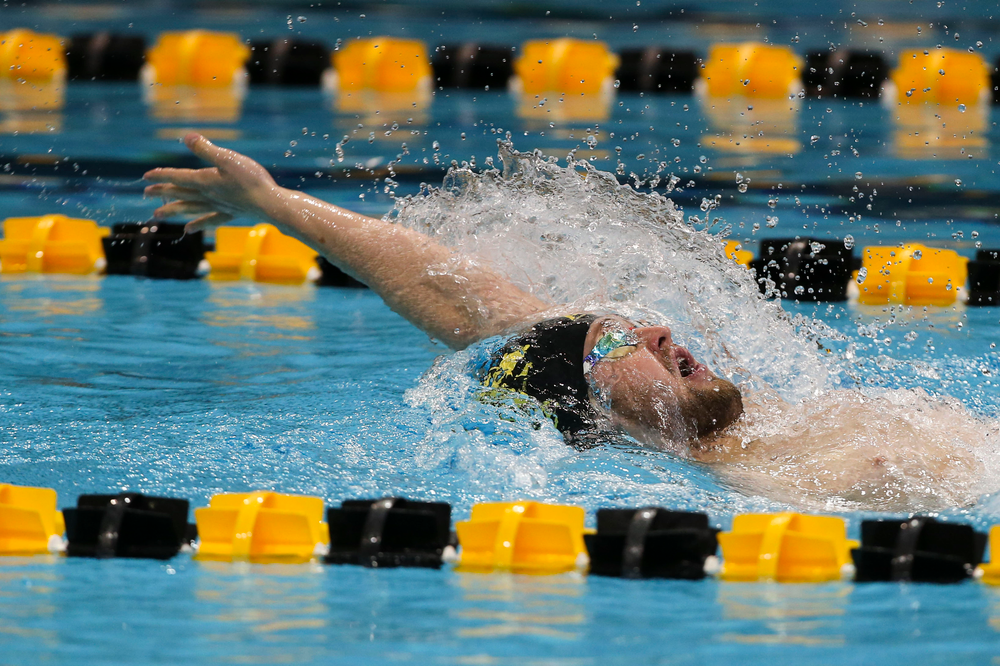 Iowa's Caleb Babb during Iowa swim and dive vs Minnesota on Saturday, October 26, 2019 at the Campus Wellness and Recreation Center. (Lily Smith/hawkeyesports.com)