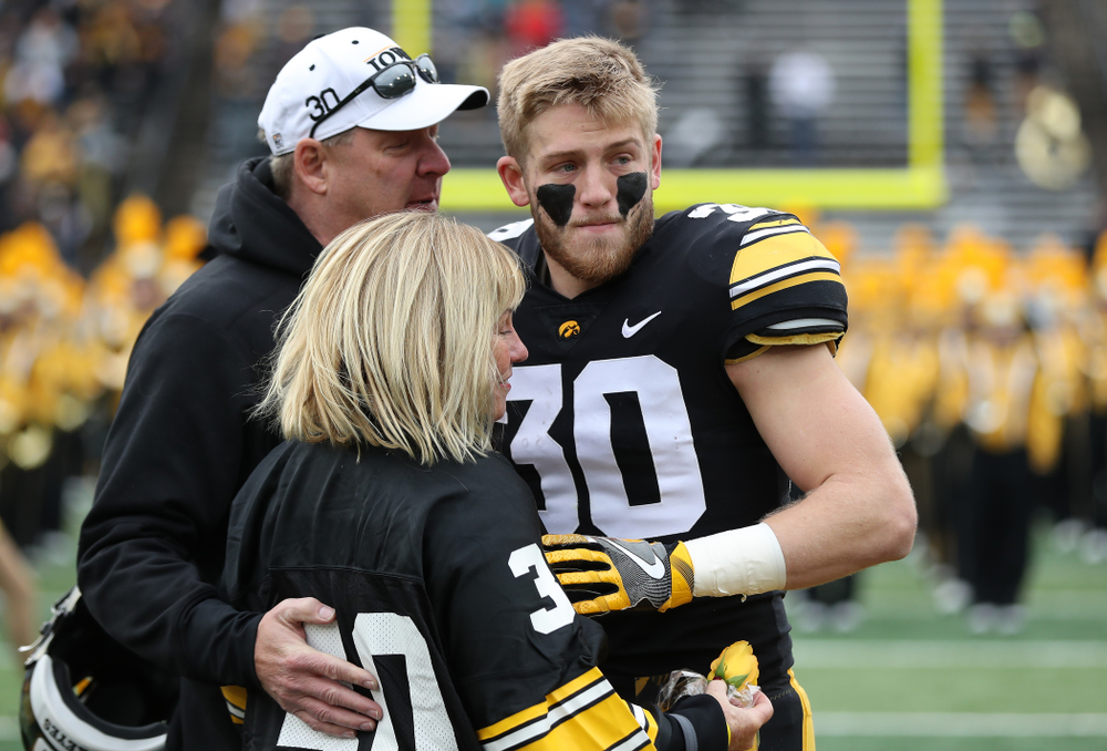 Iowa Hawkeyes defensive back Jake Gervase (30) during senior day activities before their game against the Nebraska Cornhuskers Friday, November 23, 2018 at Kinnick Stadium. (Brian Ray/hawkeyesports.com)