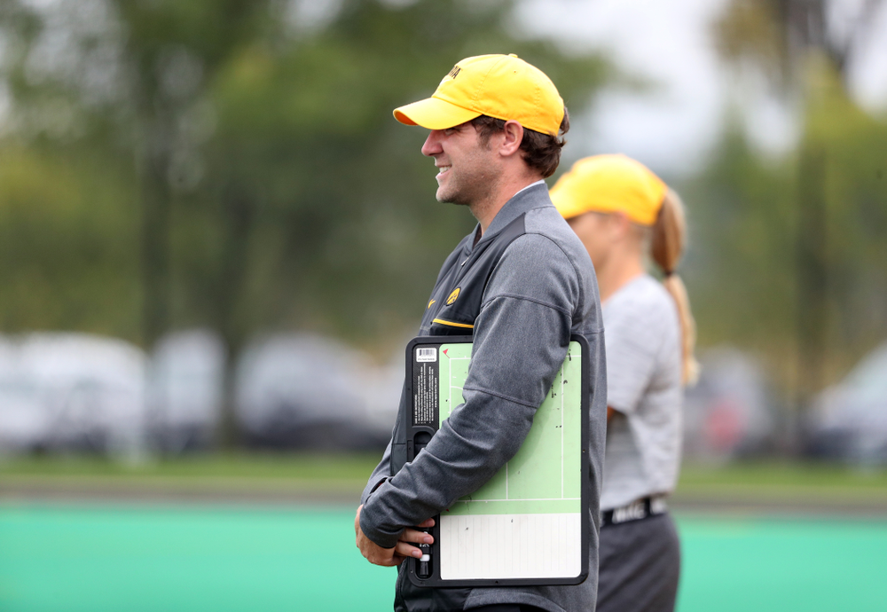 Iowa Hawkeyes assistant coach Michael Boal during a 2-1 victory against the Ohio State Buckeyes Friday, September 27, 2019 at Grant Field. (Brian Ray/hawkeyesports.com)
