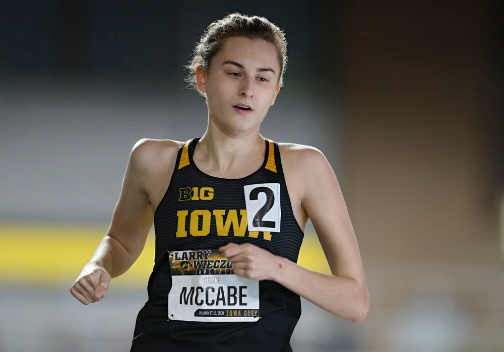 Iowa's Grace McCabe runs the women's 600 meter run event during the Larry Wieczorek Invitational at the Recreation Building in Iowa City on Friday, January 17, 2020. (Stephen Mally/hawkeyesports.com)