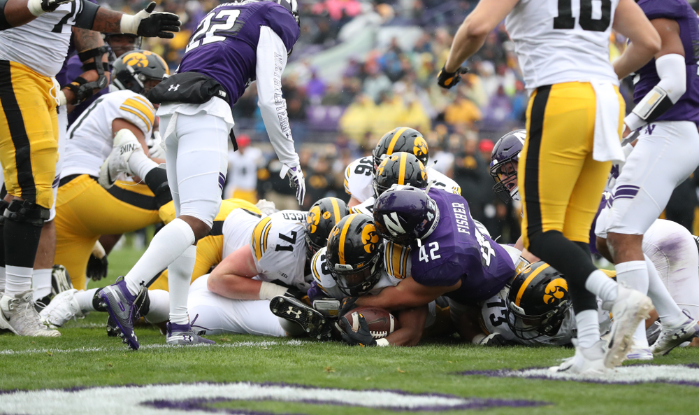 Iowa Hawkeyes running back Mekhi Sargent (10) scores against the Northwestern Wildcats Saturday, September 28, 2019 at Kinnick Stadium. (Max Allen/hawkeyesports.com)