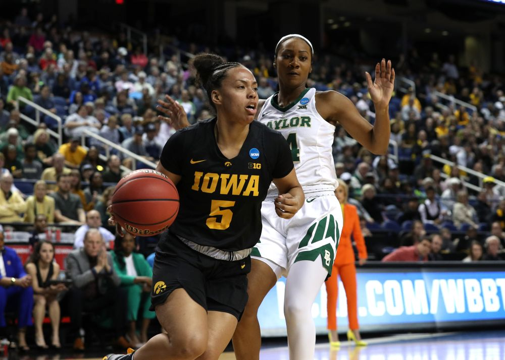 Iowa Hawkeyes guard Alexis Sevillian (5) against the Baylor Lady Bears in the regional final of the 2019 NCAA Women's College Basketball Tournament Monday, April 1, 2019 at Greensboro Coliseum in Greensboro, NC.(Brian Ray/hawkeyesports.com)