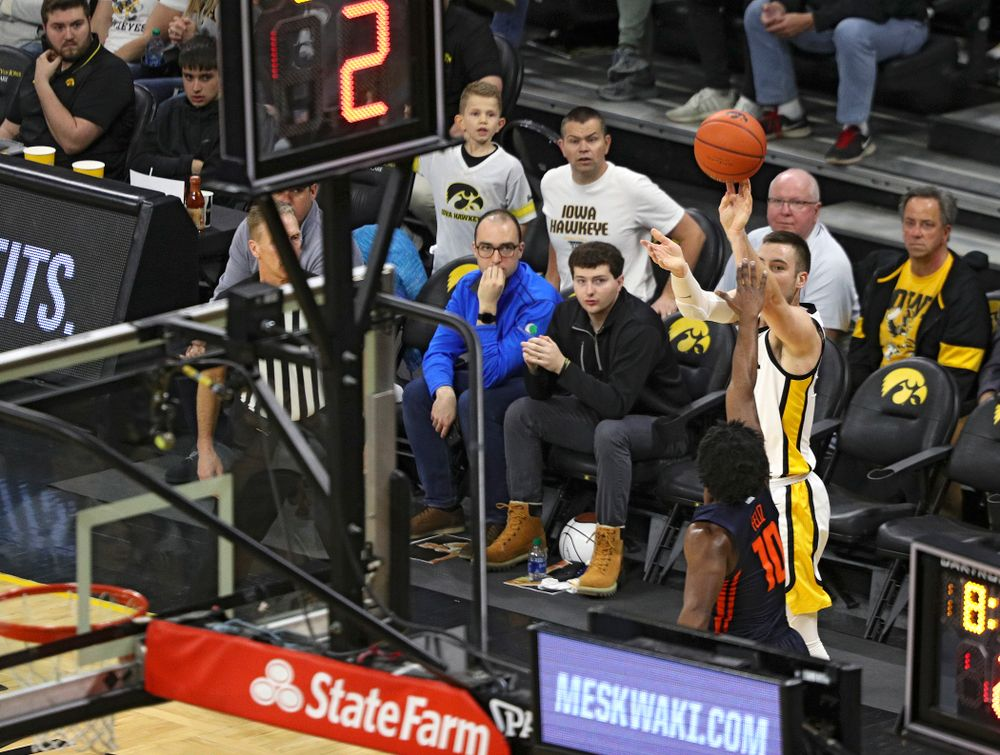 Iowa Hawkeyes guard Connor McCaffery (30) makes a 3-pointer during the first quarter of the game at Carver-Hawkeye Arena in Iowa City on Sunday, February 2, 2020. (Stephen Mally/hawkeyesports.com)
