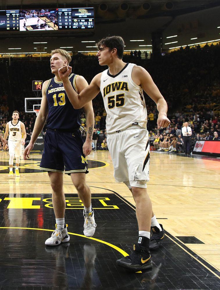 Iowa Hawkeyes forward Luka Garza (55) against the Michigan Wolverines  Friday, February 1, 2019 at Carver-Hawkeye Arena. (Brian Ray/hawkeyesports.com)