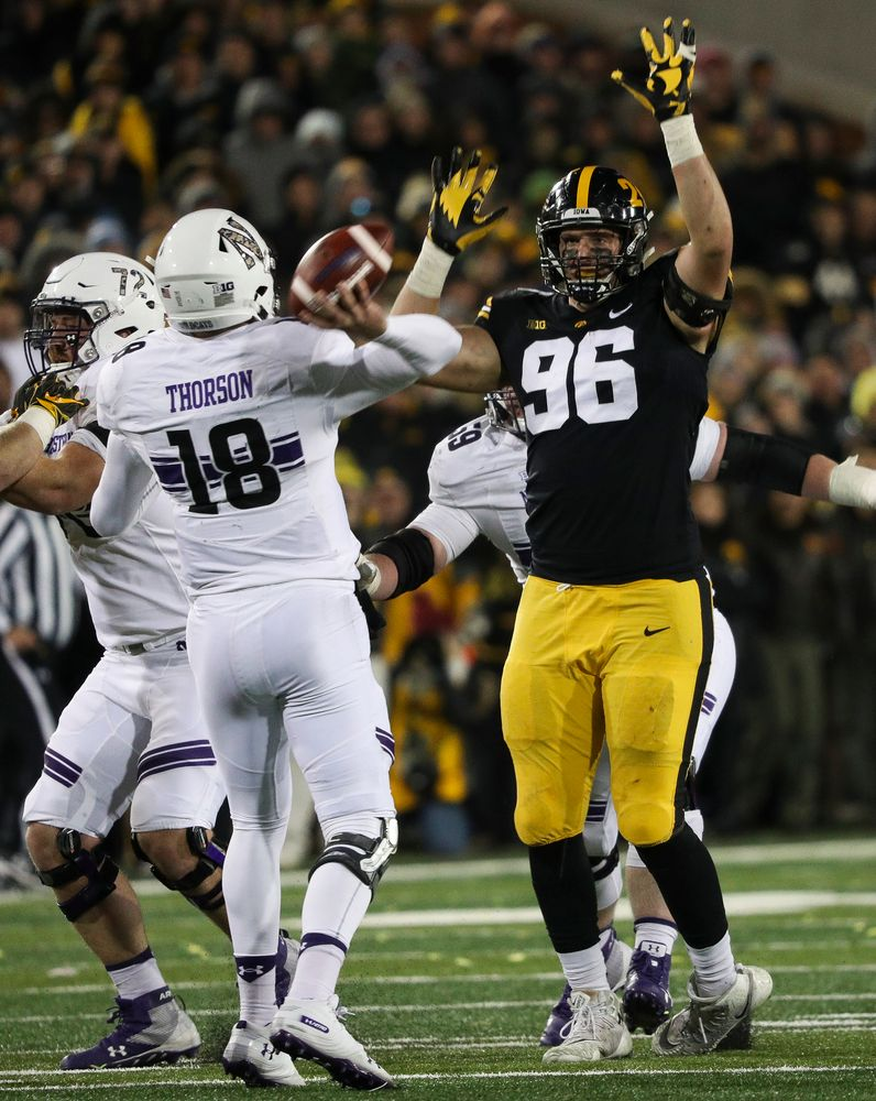 Iowa Hawkeyes defensive lineman Matt Nelson (96) rushes the quarterback during a game against Northwestern at Kinnick Stadium on November 10, 2018. (Tork Mason/hawkeyesports.com)