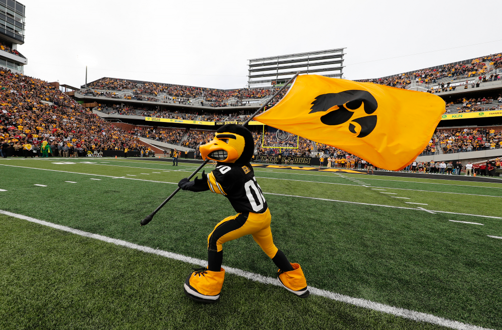 Herky the Hawk before the Iowa Hawkeyes game against against the Iowa State Cyclones Saturday, September 8, 2018 at Kinnick Stadium. (Brian Ray/hawkeyesports.com)
