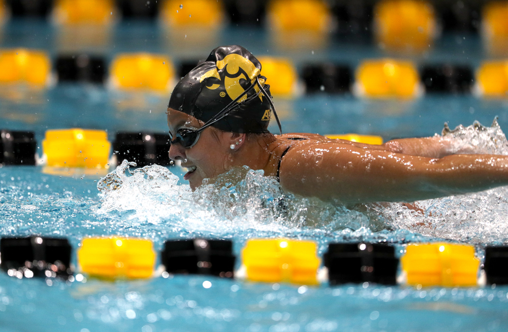 Iowa's Morgan Grout swims the 200-yard butterfly against the Iowa State Cyclones in the Iowa Corn Cy-Hawk Series Friday, December 7, 2018 at at the Campus Recreation and Wellness Center. (Brian Ray/hawkeyesports.com)