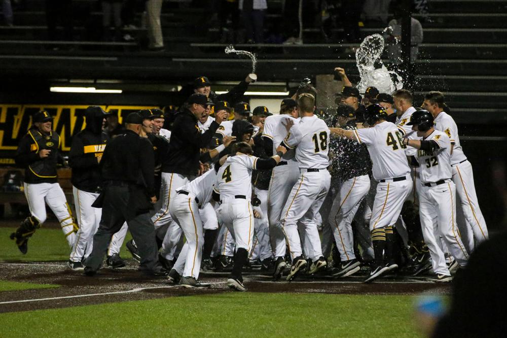 The Iowa baseball team at baseball vs Milwaukee on Tuesday, April 23, 2019 at Duane Banks Field. (Lily Smith/hawkeyesports.com)