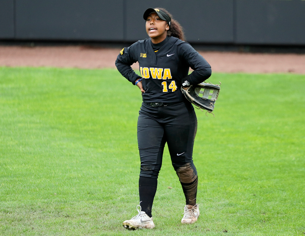 Iowa outfielder Nia Carter (14) shouts during the fifth inning of their game against Iowa Softball vs Indian Hills Community College at Pearl Field in Iowa City on Sunday, Oct 6, 2019. (Stephen Mally/hawkeyesports.com)
