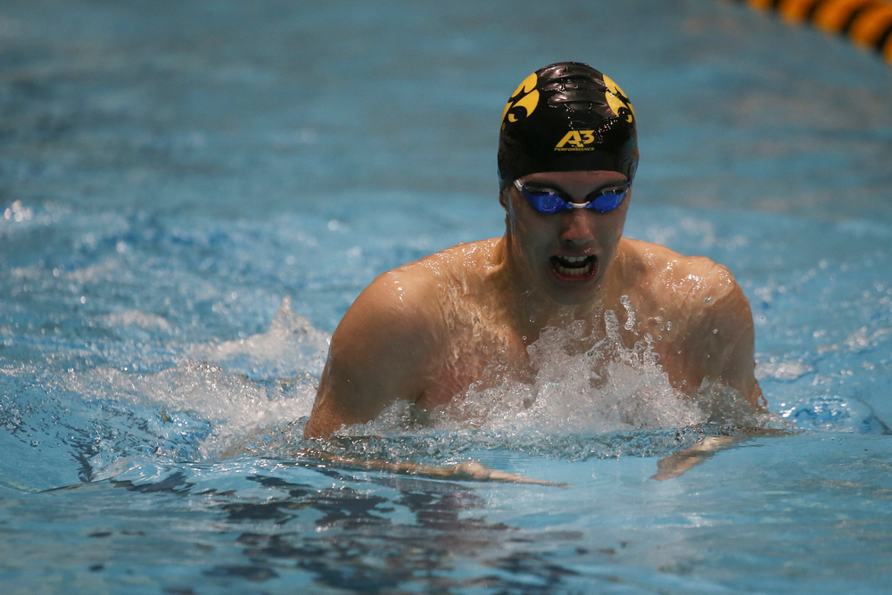 Iowa's Dolan Craine swims the 200-yard breaststroke during the Iowa swimming and diving meet vs Notre Dame and Illinois on Saturday, January 11, 2020 at the Campus Recreation and Wellness Center. (Lily Smith/hawkeyesports.com)