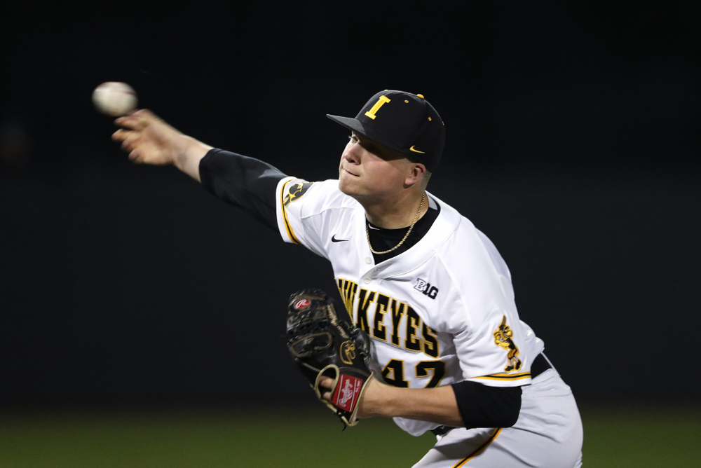 Iowa Hawkeyes Trace Hoffman (42) during game one against UC Irvine Friday, May 3, 2019 at Duane Banks Field. (Brian Ray/hawkeyesports.com)