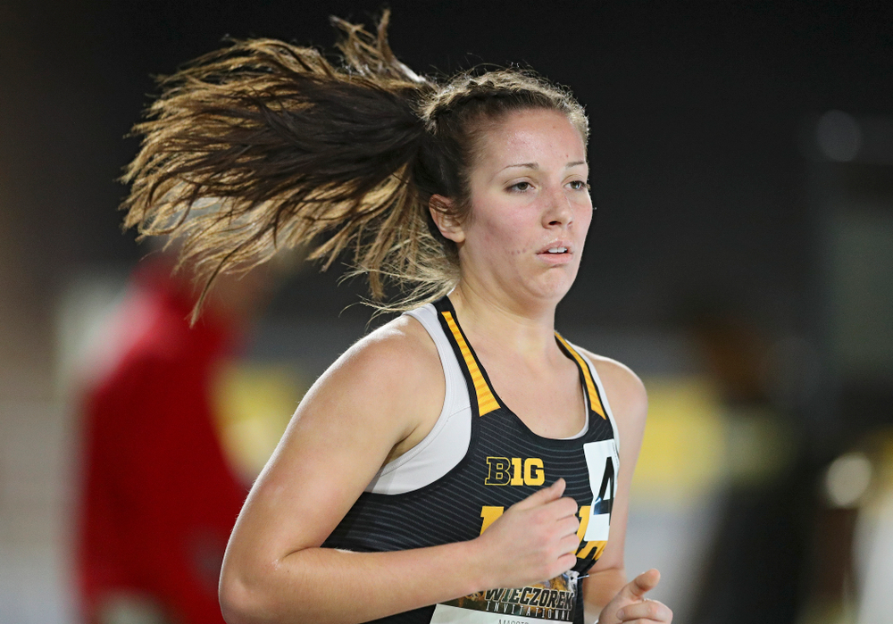 Iowa's Maggie Gutwein runs the women's 3000 meter run event during the Larry Wieczorek Invitational at the Recreation Building in Iowa City on Friday, January 17, 2020. (Stephen Mally/hawkeyesports.com)