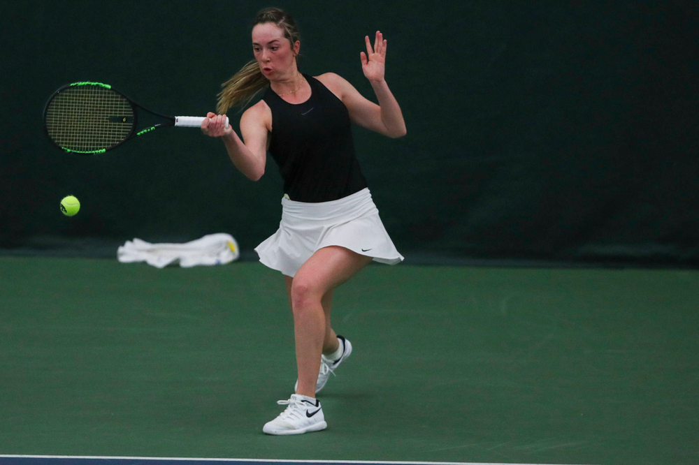 IowaÕs Samantha Mannix at womenÕs tennis senior day vs Nebraska on Saturday, April 13, 2019 at the Hawkeye Tennis and Recreation Complex. (Lily Smith/hawkeyesports.com)