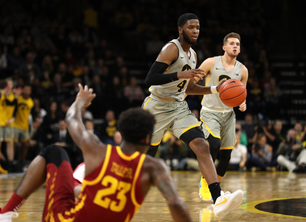 Iowa Hawkeyes guard Isaiah Moss (4) against the Iowa State Cyclones in the Iowa Corn Cy-Hawk Series Thursday, December 6, 2018 at Carver-Hawkeye Arena. (Brian Ray/hawkeyesports.com)
