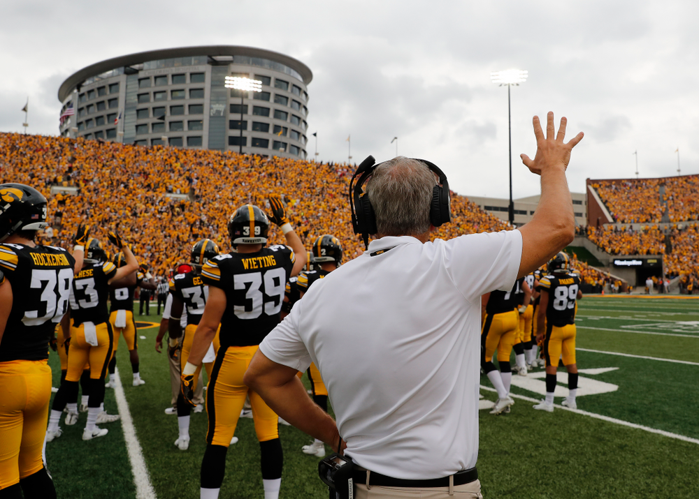 Iowa Hawkeyes head coach Kirk Ferentz  waves to the Stead Family Children's Hospital during their game against the Northern Illinois Huskies Saturday, September 1, 2018 at Kinnick Stadium. (Brian Ray/hawkeyesports.com)
