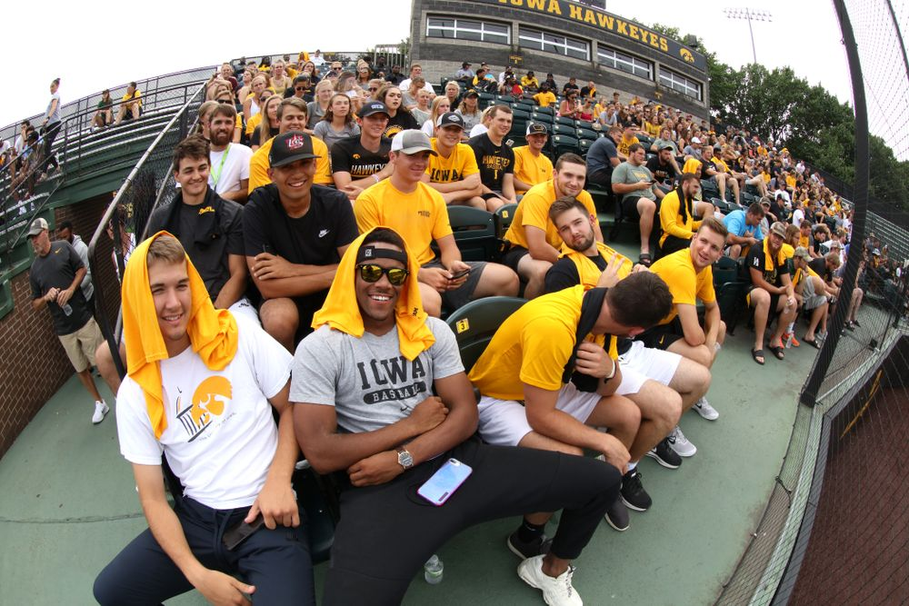 The Iowa Baseball Team during the Iowa Student Athlete Kickoff Kickball game  Sunday, August 19, 2018 at Duane Banks Field. (Brian Ray/hawkeyesports.com)