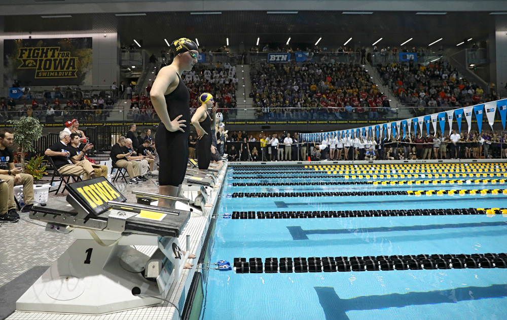 Iowa's Emilia Sansome waits to swim the women's 200 yard backstroke final event during the 2020 Women's Big Ten Swimming and Diving Championships at the Campus Recreation and Wellness Center in Iowa City on Saturday, February 22, 2020. (Stephen Mally/hawkeyesports.com)