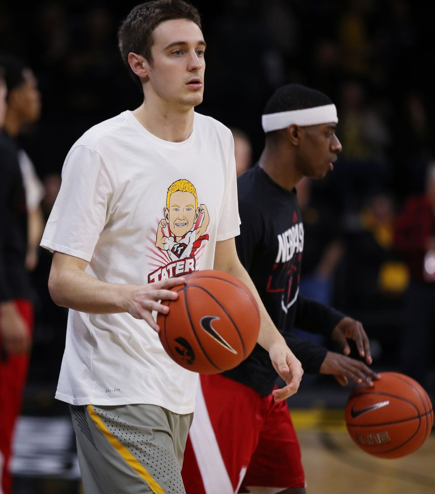 Iowa Hawkeyes forward Nicholas Baer (51) wears a Tater Tough t-shirt before their game against the Nebraska Cornhuskers Sunday, January 6, 2019 at Carver-Hawkeye Arena. (Brian Ray/hawkeyesports.com)