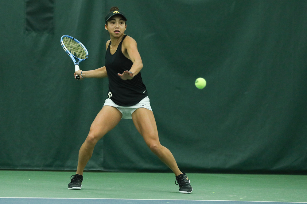 Iowa's Michelle Bacalla returns a hit during the Iowa women's tennis meet vs DePaul  on Friday, February 21, 2020 at the Hawkeye Tennis and Recreation Complex. (Lily Smith/hawkeyesports.com)