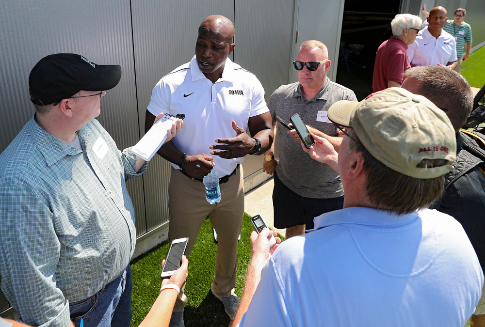 Iowa Hawkeyes wide receivers coach Kelton Copeland  answers questions during Iowa Football Media Day at the Hansen Football Performance Center in Iowa City on Friday, Aug 9, 2019. (Stephen Mally/hawkeyesports.com)
