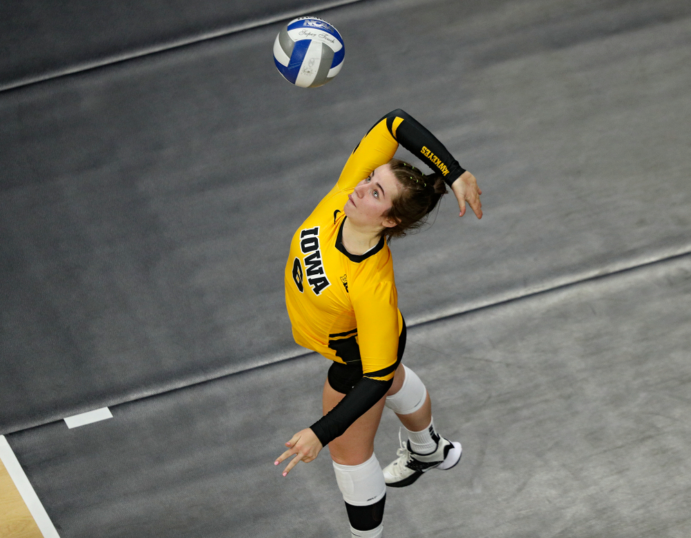 Iowa's Emma Lowes (6) serves the ball during the fourth set of their match at Carver-Hawkeye Arena in Iowa City on Friday, Nov 29, 2019. (Stephen Mally/hawkeyesports.com)