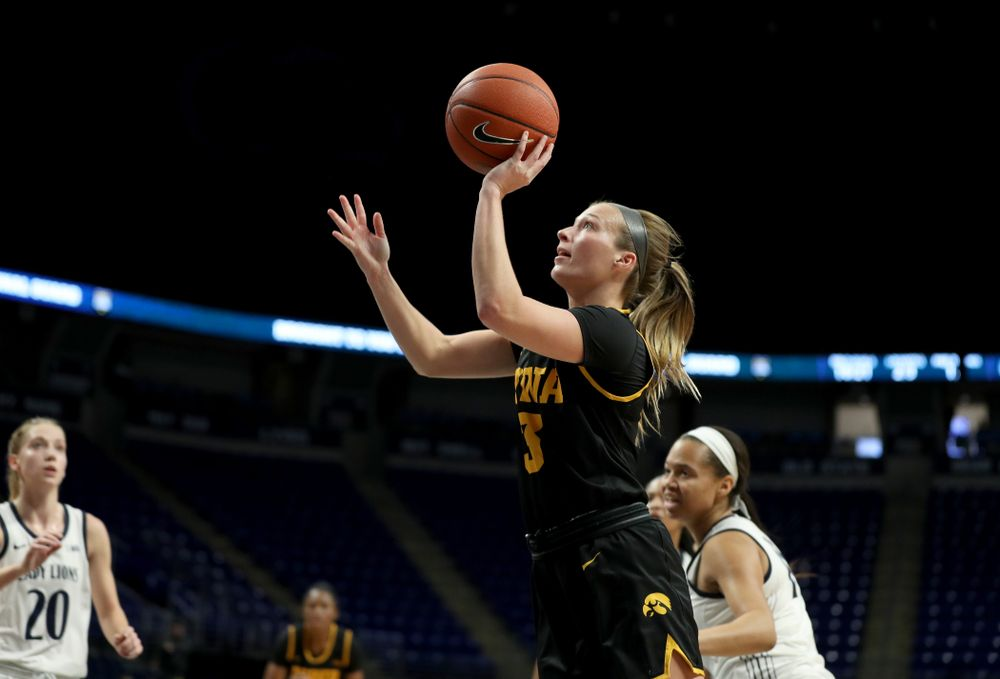 Iowa Hawkeyes guard Makenzie Meyer (3) against the Penn State Nittany Lions Thursday, January 30, 2020 at the Bryce Jordan Center. (Brian Ray/hawkeyesports.com)