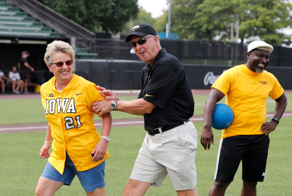 Director of Athletics Gary Barta and Deputy Director of Athletics Barbara Burke during the Iowa Student Athlete Kickoff Kickball game  Sunday, August 19, 2018 at Duane Banks Field. (Brian Ray/hawkeyesports.com)