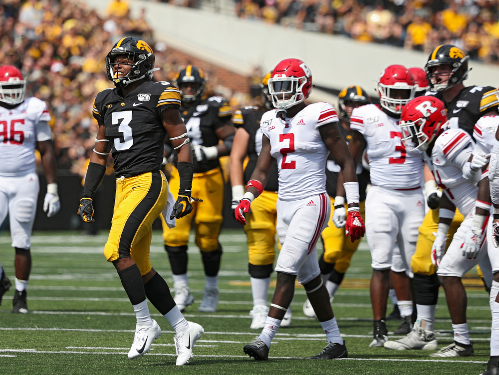 Iowa Hawkeyes wide receiver Tyrone Tracy Jr. (3) celebrates after a 33-yard reception during the third quarter of their Big Ten Conference football game at Kinnick Stadium in Iowa City on Saturday, Sep 7, 2019. (Stephen Mally/hawkeyesports.com)