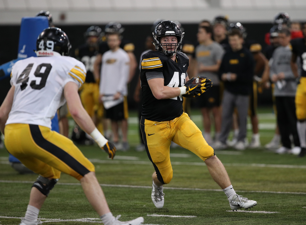 Iowa Hawkeyes tight end Bryce Schulte (48) during preparation for the 2019 Outback Bowl Wednesday, December 19, 2018 at the Hansen Football Performance Center. (Brian Ray/hawkeyesports.com)