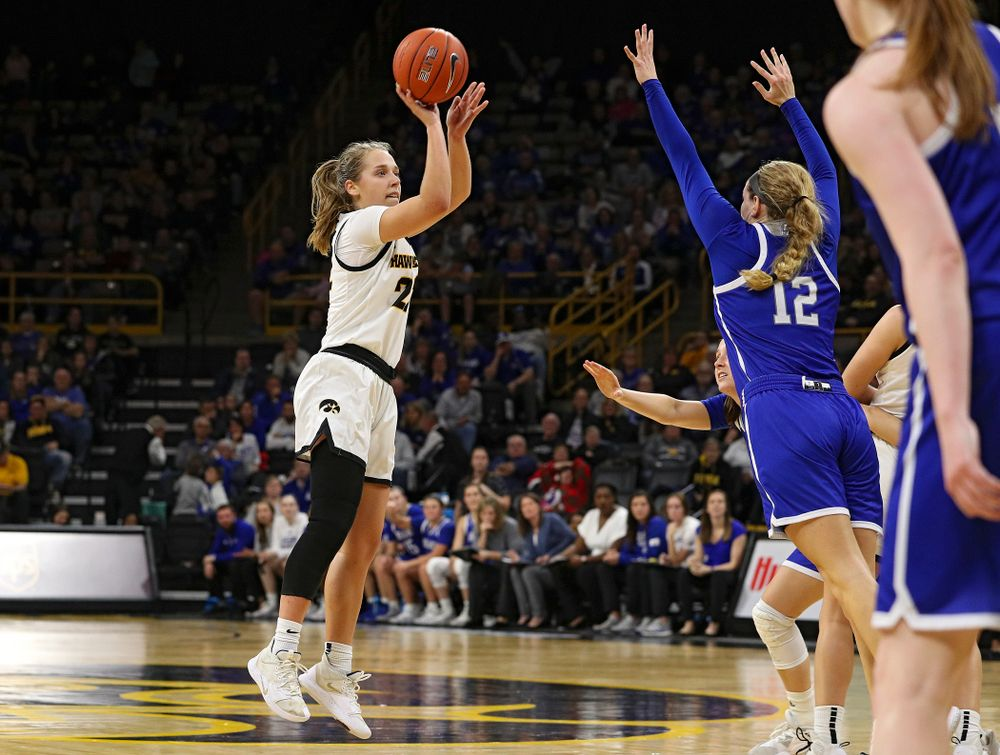 Iowa Hawkeyes guard Kathleen Doyle (22) makes a 3-pointer during the fourth quarter of their game at Carver-Hawkeye Arena in Iowa City on Saturday, December 21, 2019. (Stephen Mally/hawkeyesports.com)