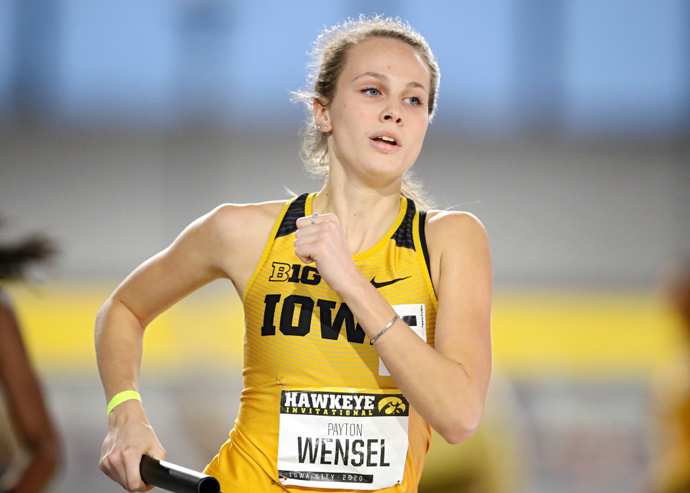 Iowa's Payton Wensel runs the women's 1600 meter relay event during the Hawkeye Invitational at the Recreation Building in Iowa City on Saturday, January 11, 2020. (Stephen Mally/hawkeyesports.com)