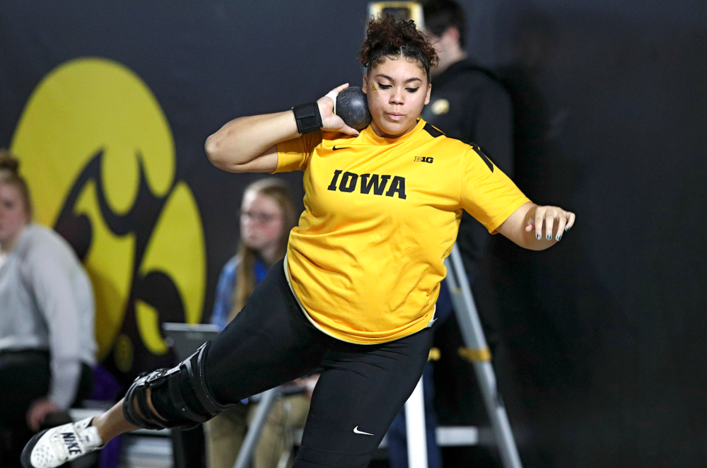 Iowa's Kat Moody competes in the women's shot put event during the Hawkeye Invitational at the Recreation Building in Iowa City on Saturday, January 11, 2020. (Stephen Mally/hawkeyesports.com)