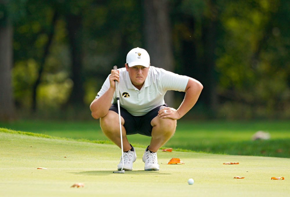 Iowa's Alex Schaake lines up a putt during the second day of the Golfweek Conference Challenge at the Cedar Rapids Country Club in Cedar Rapids on Monday, Sep 16, 2019. (Stephen Mally/hawkeyesports.com)