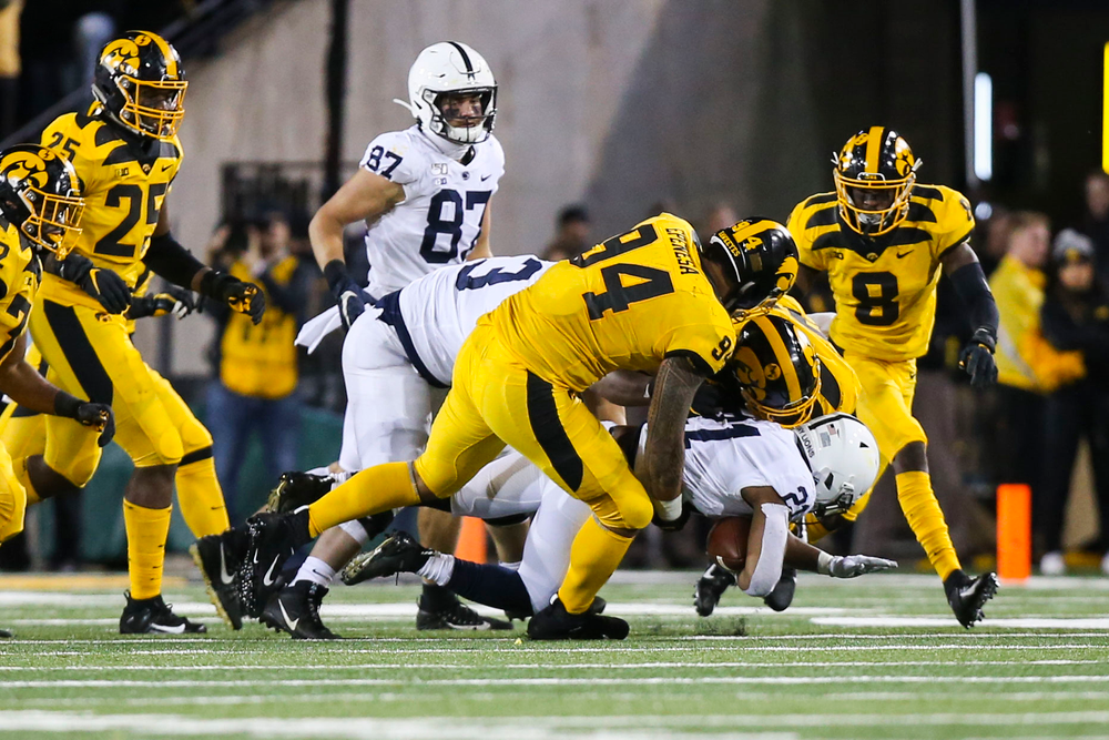 Iowa Hawkeyes defensive end A.J. Epenesa (94)  during Iowa football vs Penn State on Saturday, October 12, 2019 at Kinnick Stadium. (Lily Smith/hawkeyesports.com)