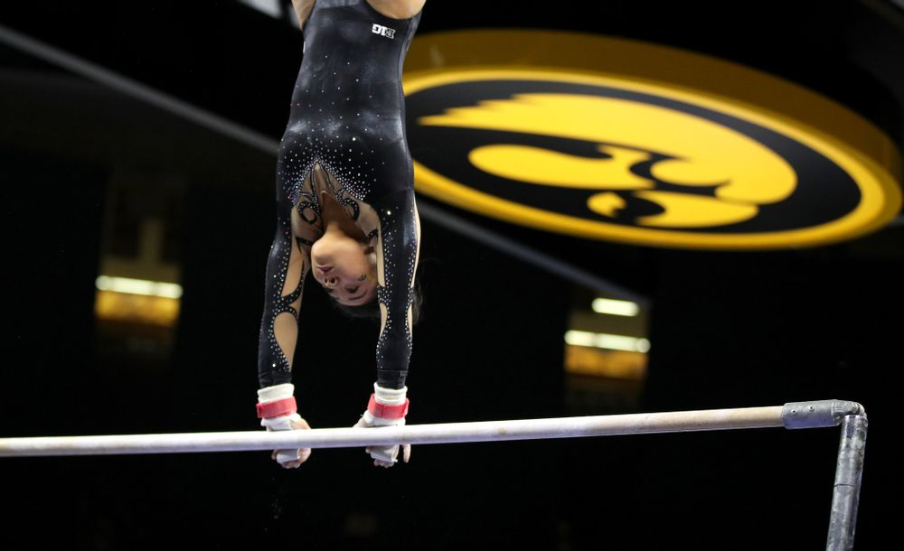 Iowa's Clair Kaji competes on the bars during their meet against Southeast Missouri State Friday, January 11, 2019 at Carver-Hawkeye Arena. (Brian Ray/hawkeyesports.com)