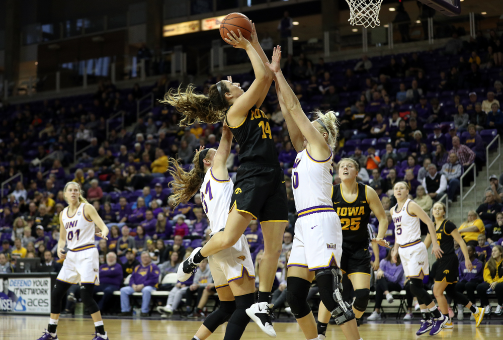 Iowa Hawkeyes forward McKenna Warnock (14) against Northern Iowa Sunday, November 17, 2019 at the McLeod Center. (Brian Ray/hawkeyesports.com)