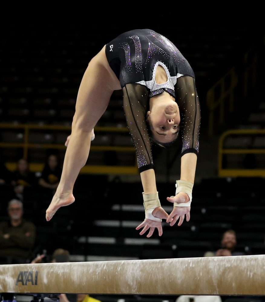 Iowa's Allie Gilchrist competes on the beam against Michigan State Saturday, February 1, 2020 at Carver-Hawkeye Arena. (Brian Ray/hawkeyesports.com)