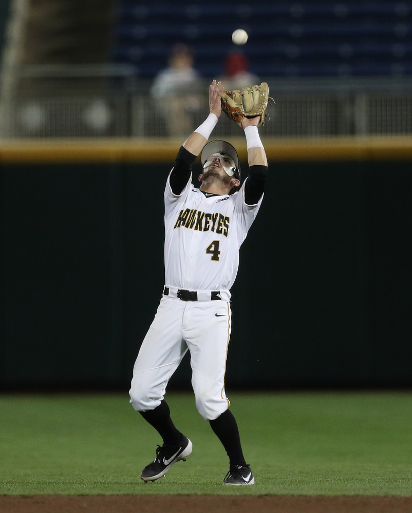 Iowa Hawkeyes infielder Mitchell Boe (4) against the Minnesota Golden Gophers in the  Big Ten Baseball Tournament Friday, May 24, 2019 at TD Ameritrade Park in Omaha, Neb. (Brian Ray/hawkeyesports.com)