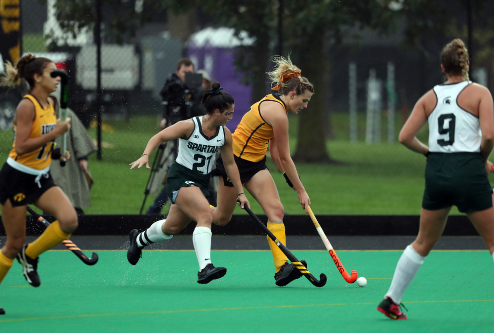 Iowa Hawkeyes Ellie Holley (7) against the Michigan State Spartans Sunday, September 29, 2019 at Grant Field. (Brian Ray/hawkeyesports.com)