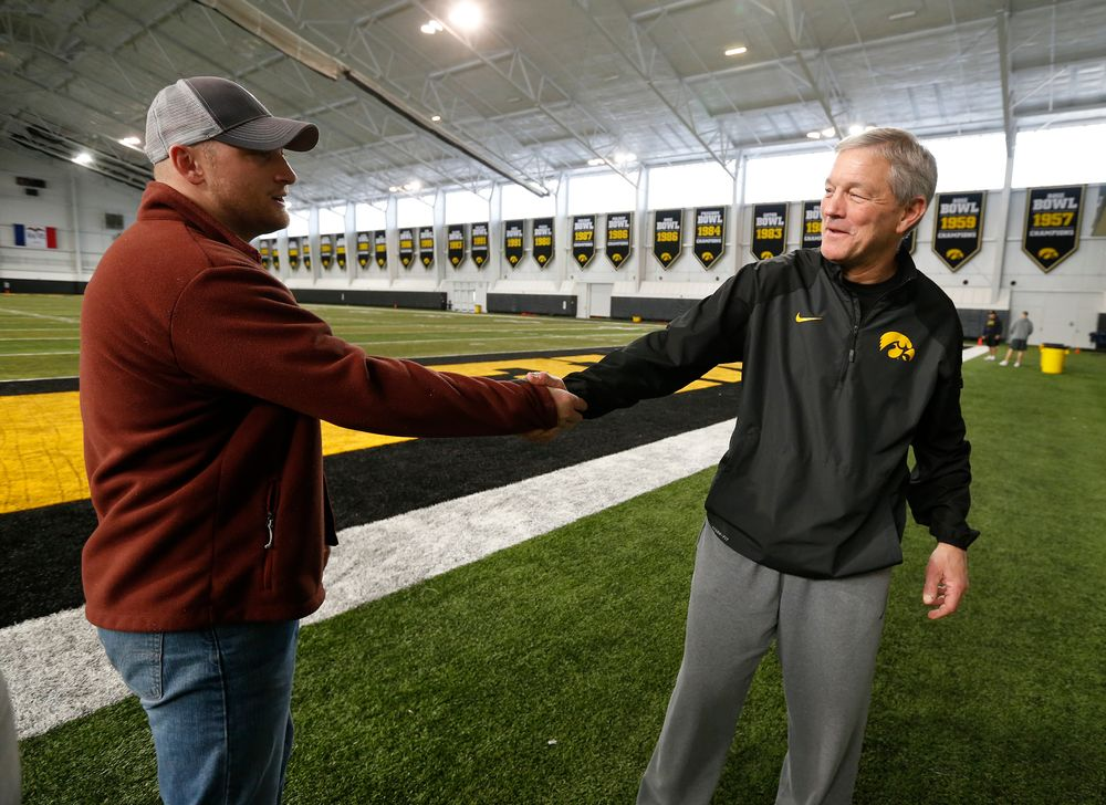 Pat Angerer and Head Coach Kirk Ferentz