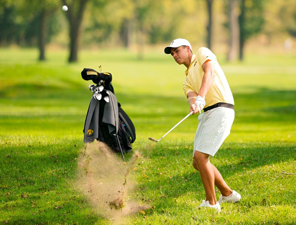 Iowa's Garrett Tigheduring the third day of the Golfweek Conference Challenge at the Cedar Rapids Country Club in Cedar Rapids on Tuesday, Sep 17, 2019. (Stephen Mally/hawkeyesports.com)