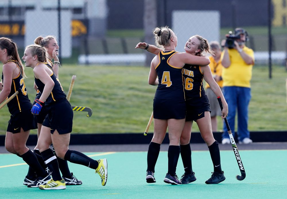 Iowa Hawkeyes Maddy Murphy (26) celebrates with Makenna Grewe (4) after scoring against the Penn Quakers Friday, September 14, 2018 at Grant Field. (Brian Ray/hawkeyesports.com)