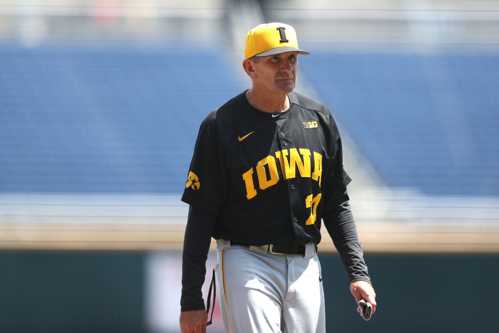 Iowa Hawkeyes head coach Rick Heller against the Nebraska Cornhuskers in the first round of the Big Ten Baseball Tournament Friday, May 24, 2019 at TD Ameritrade Park in Omaha, Neb. (Brian Ray/hawkeyesports.com)