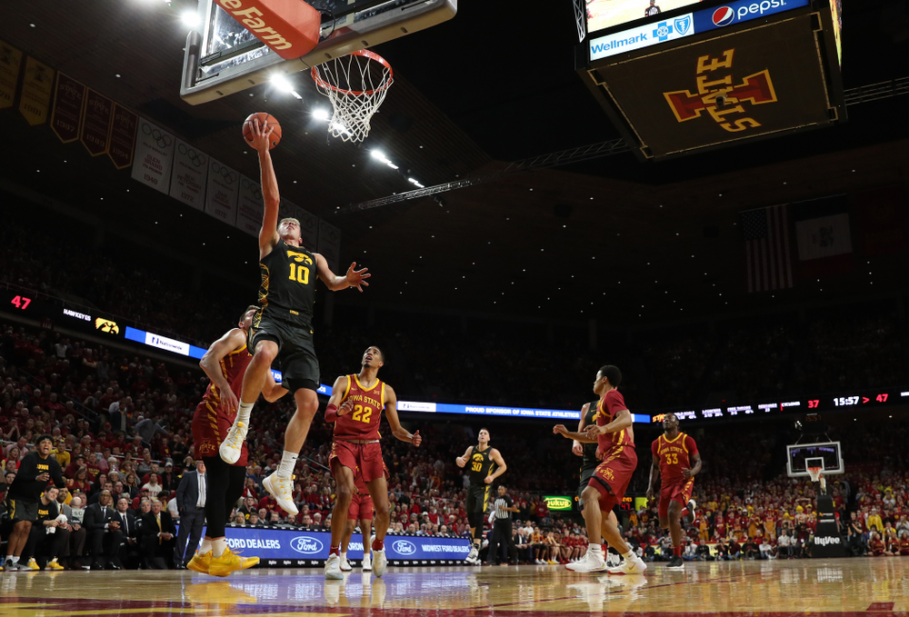 Iowa Hawkeyes guard Joe Wieskamp (10) goes to the hoop against the Iowa State Cyclones Thursday, December 12, 2019 at Hilton Coliseum in Ames, Iowa(Brian Ray/hawkeyesports.com)