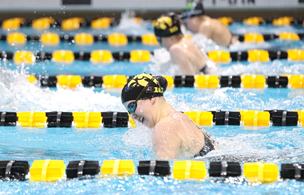 Iowa's Christina Crane swims the women's 200 yard individual medley preliminary event during the 2020 Women's Big Ten Swimming and Diving Championships at the Campus Recreation and Wellness Center in Iowa City on Thursday, February 20, 2020. (Stephen Mally/hawkeyesports.com)