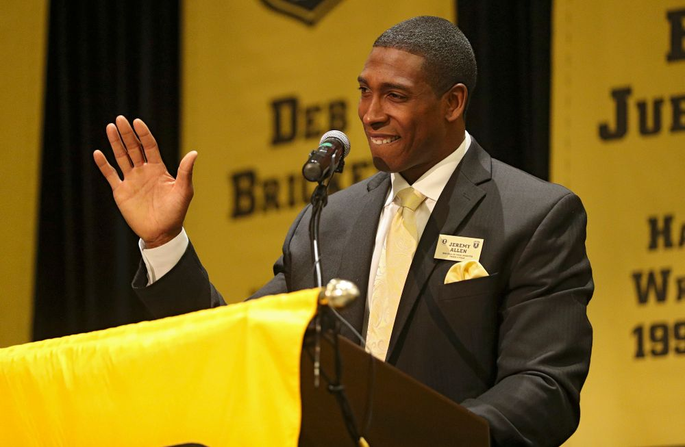 2019 University of Iowa Athletics Hall of Fame inductee Jeremy Allen speaks during the Hall of Fame Induction Ceremony at the Coralville Marriott Hotel and Conference Center in Coralville on Friday, Aug 30, 2019. (Stephen Mally/hawkeyesports.com)