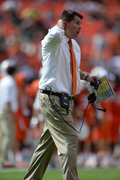 University of Miami Hurricanes head coach Al Golden on the sidelines in a game against the Wake Forest Demon Deacons at Sun Life Stadium on October...